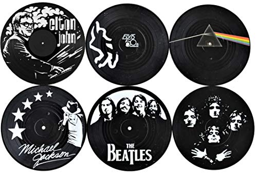 (Our Casa Coasters For Drinks | Home Decor Music Coaster (6-Piece Set) With Vinyl Record Design | Gift For New Home, Housewarming, Indoor, Living Room Decoration | Black And White Design)