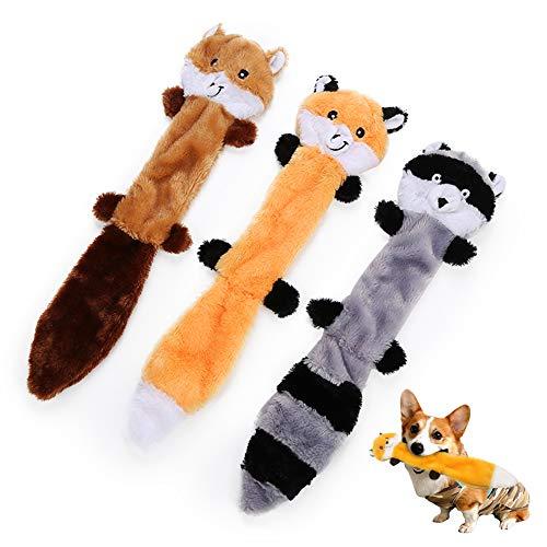 AnCoSoo 3 Pack Hundespielzeug mit Quietschelement,Hund Quietschende Kauen Spielzeug Keine Füllung Hund Spielzeug Plüsch…