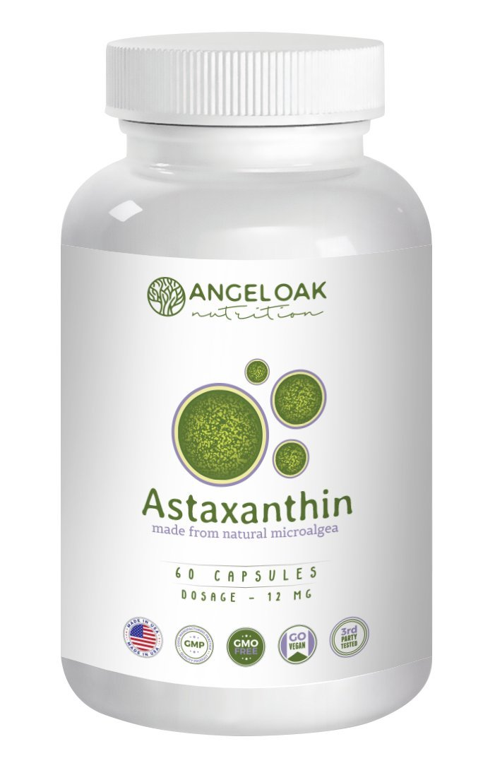 Astaxanthin 12mg Supplements - 60 Count Vegan Caps, 12 mg High Potency Capsules with MCT Powder for Better Absorption - Superfood Antioxidant that Supports Eye, Joint, & Skin Health