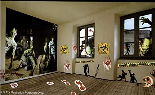 Halloween Decorations Zombie Apocalypse Scene Wall Decor, 32 Piece Kit]()