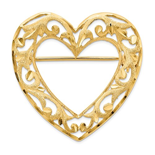 14k Yellow Gold Filigree Heart Pin Love Fine Jewelry Gifts For Women For Her