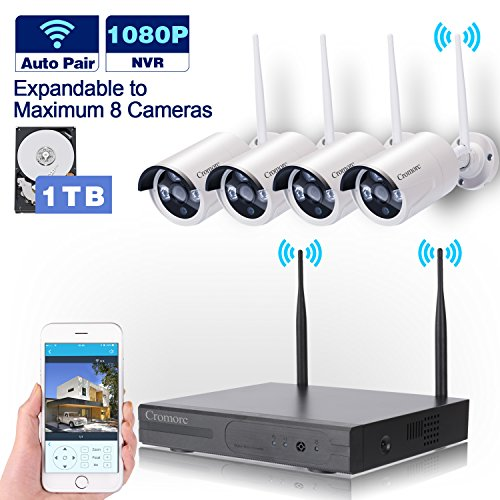 [Expandable]Wireless Security Camera System 8CH 1080P WIFI NVR Kit CCTV 4pcs 960P Indoor Outdoor Bullet IP Cameras P2P IR Night Vision Waterproof Plug and Play with 1TB Hard Drive