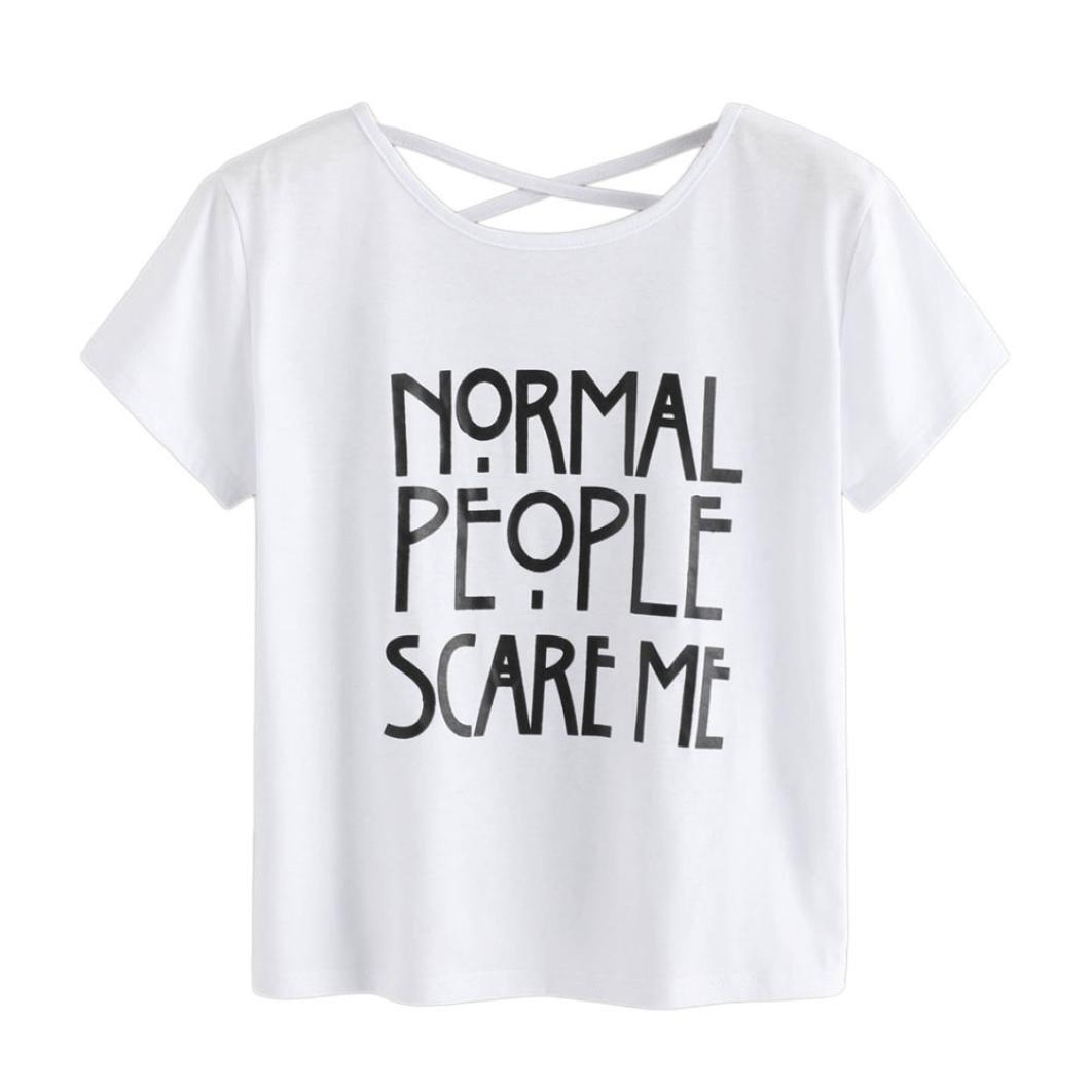 Solike Damen Sommer T-Shirt Rundhals Kurzarm Brief Drucken Lässig Casual Tops Frauen Mädchen Pullover Bluse Weste Tee Shirts