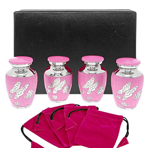 - Pink Butterfly Small Keepsake Urns for Human Ashes - Set of 4 - These Small Urns are Perfect for Showing Love and Affection - A Simple Beautiful Design and High Quality Finish - w Case and 4 Pouches
