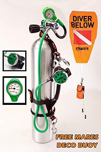 O2 CLEAN Oxygen Deco Reg Stage Set DIN Regulator Dive Rite Straps Oxygen SPG 40 cf Aluminum Tank 3000 psi FREE Mares Surface Marker Buoy Hi-Viz Complete Set ()
