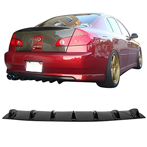 2003 Infiniti G35 Sedan - Rear Bumper Lip Diffuser Fits 2007-2011 Infiniti M25 M37 M56 G37 | V1 Style Glossy Black ABS Aftermarket Replacement Parts Rear Splitter 7 Fin by IKON MOTORSPORTS