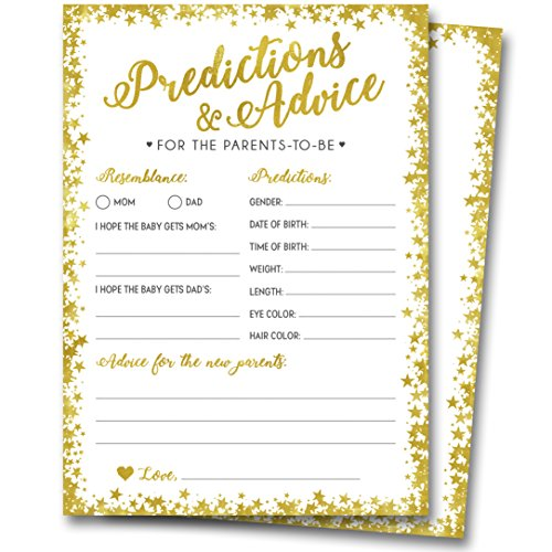 50 Gold Baby Shower Prediction and Advice Cards - Gender Neutral Boy or Girl, Baby Shower Games, Baby Shower Decorations, Baby Shower Favors for $<!--$12.99-->