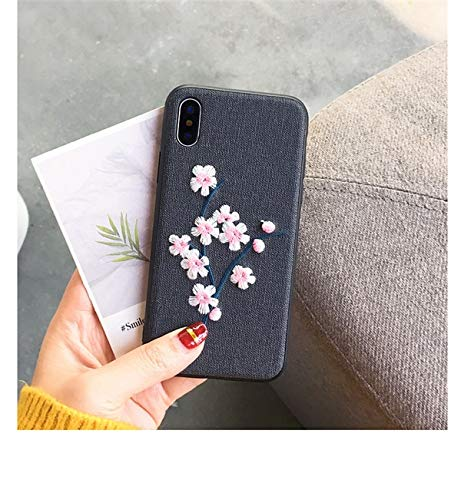 Twinlight Embroidery Case for iPhone X XS Case 3D Vintage Flower Leaves Fabric Soft Cover for iPhone 7 8 Plus (Style 6, for iPhone X XS)