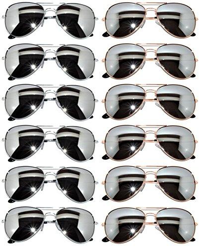 12 Pairs Aviators Full Mirror Lens Sunglasses Metal Gold, Silver Frames - Sunglasses Fashion Wholesale