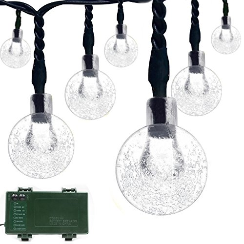 Vmanoo Globe Battery Operated Timer String Lights 30 LED Bubble Crystal Ball Fairy Christmas Lighting Decor For Outdoor, Indoor, Garden, Patio, Bedroom Wedding Xmas Decorations (White) (Bubble Crystal)