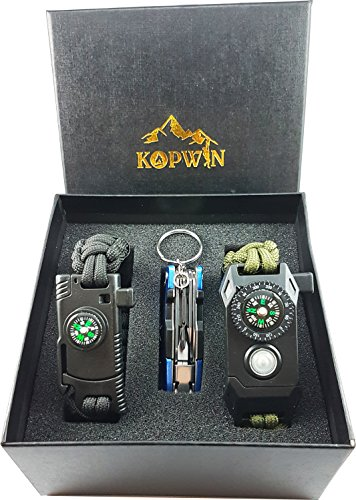 Kopwin Paracord Survival Bracelet Set - Bonus Keychain Multitool Included. Military Grade Bracelets With Compass, Magnesium Flint Fire Starter, Emergency Whistle, Knife And Led Light. Set of 2 (Green)