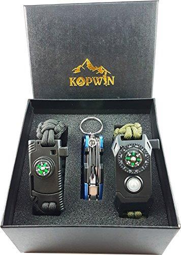 Kopwin Paracord Survival Bracelet Set - Bonus Keychain Multitool Included. Military Grade Bracelets With Compass, Magnesium Flint Fire Starter, Emergency Whistle, Knife And Led Light. Set of 2- Green