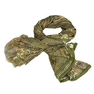 Wildoor Tactical Mesh Net Military Scarf Ghillie Sniper Veil Srim Net Cover Shemagh Head Face Wrap Multifunctional Army KeffIyeh for Airsoft Hunting Shooting 190cm x 90cm Multicam