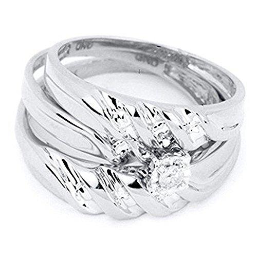 0.07 Carat (ctw) 10K White Gold Round Cut White Diamond Men & Women's Engagement Ring Trio Set