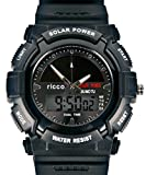 Men's Solar Sport Watch LED/ Quartz Combo Shock and Water Resistant SSW3 by ricco power