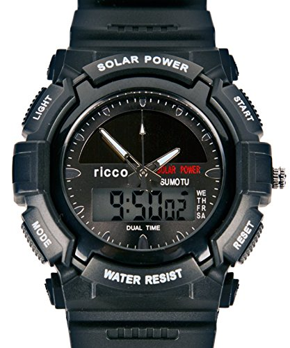 Men's Solar Sport Watch LED/ Quartz Combo Shock and Water Resistant SSW3 (Combo Shock)