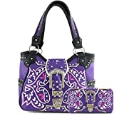 Justin West Tooled Leather Laser Cut Rhinestone Concho Studded Shoulder Concealed Carry Tote Style Handbag Purse Wallet (Purple Handbag Wallet Set)