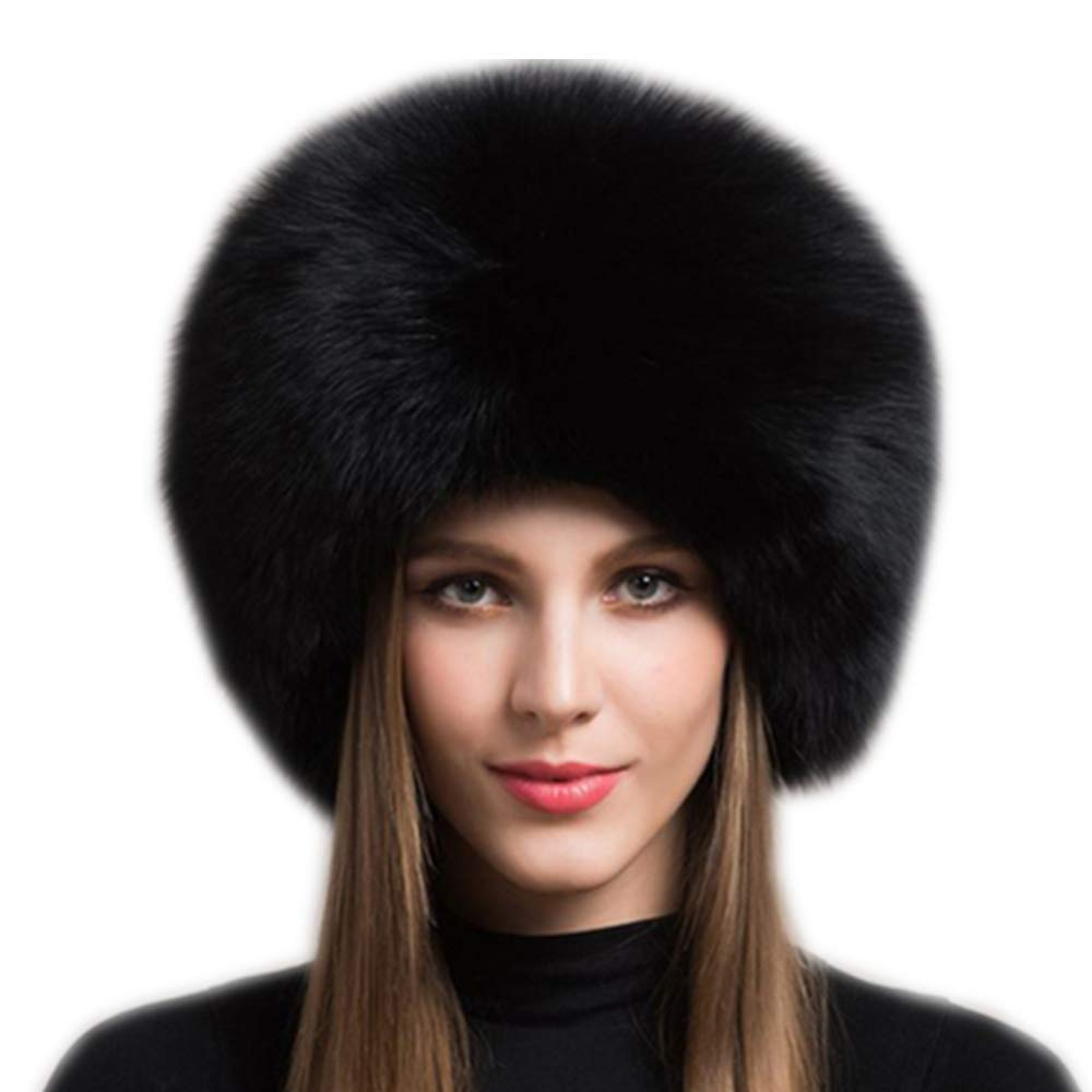 Gegefur Women's Real Fox Fur Hats Leather Earmuffs Warm Winter Hats (Black)