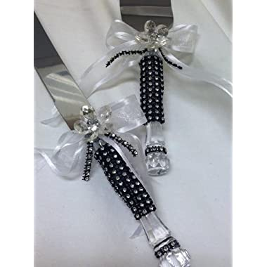 Black & White Cake Knife Server Set with Simulted Rhinestones