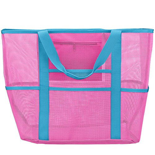 Mesh Beach Bag, Toy Tote Bag, Large Lightweight Market Grocery Picnic Pool -