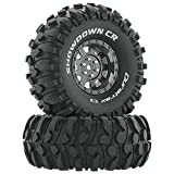 Duratrax Showdown 1.9 Inch RC Rock Crawler Tires with Foam Inserts, C3 Super Soft Compound, High Traction, Mounted on Black Chrome Wheels, (Set of 2)