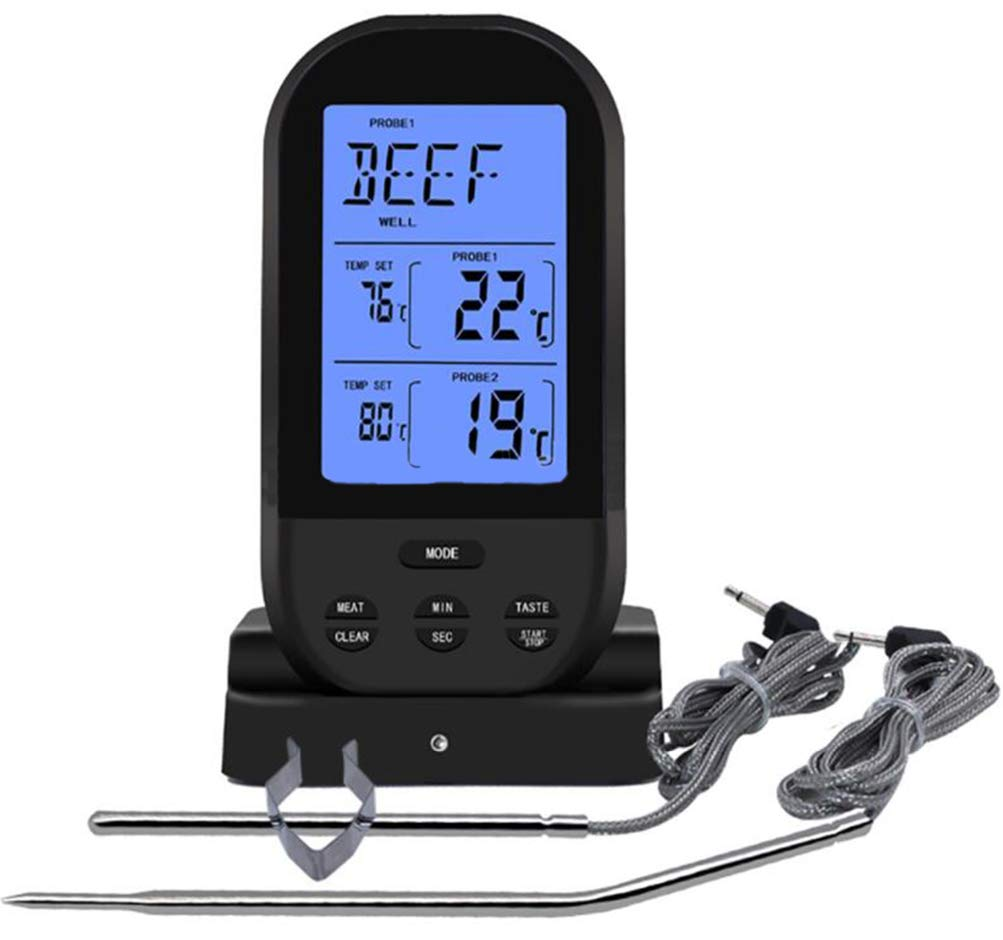 Wireless Meat Thermometer,Wireless Remote Digital Cooking Food Meat Thermometer Waterproof Dual Probe for BBQ Grill Oven Smoker,Black (black)