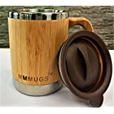 Merchant Medley Mugs Bamboo And Stainless Steel Insulated Mug 10oz With Lid - Eco-Friendly and BPA Free