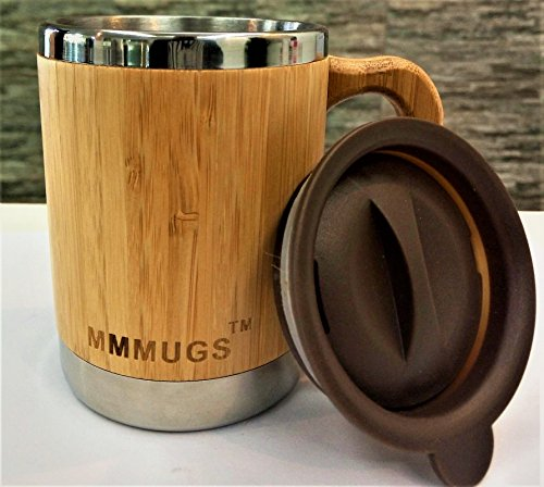 Merchant Medley Mugs Double Walled Bamboo And Stainless Steel Insulated Mug 10oz With Lid - Eco-Friendly and BPA Free