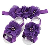 Elevin(TM) Children Baby Cute Flower Barefoot Sandal Shoes with Headband (Purple) For Sale