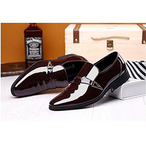 Shoes Brown Rainlin Pointed Patent Mens Shoes On Tuxedo Toe Leather Slip Dress 4TPvRS4