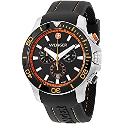 Wenger Black Dial Black Silicone Strap Men's Watch 010643106