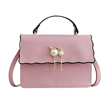 62b61d3d29e65 Wulofs Summer 2019 New Women Wild Pearl Cat Pendant Shoulder Bag Messenger  Bag Small Square Bag