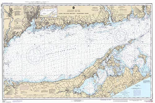 Map - Long Island Sound - Eastern Part, 1980 Nautical NOAA Chart - Connecticut, New York (CT, NY) - Vintage Wall Art - 58in x 36in (Island Sound Depth Long)