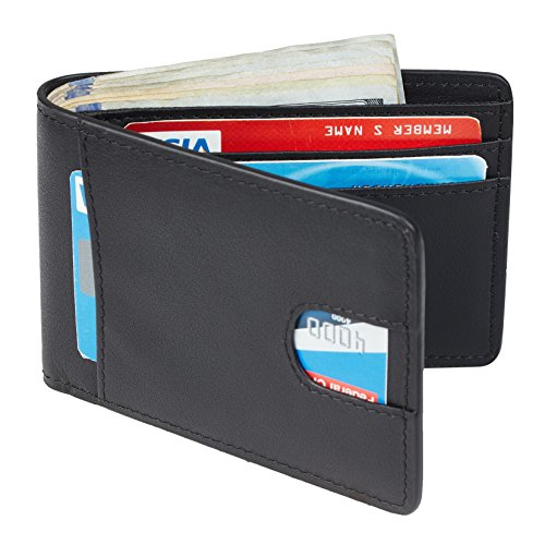 Casmonal-Mens-Leather-Wallet-Slim-Front-Pocket-Wallet-Billfold-RFID-Blocking