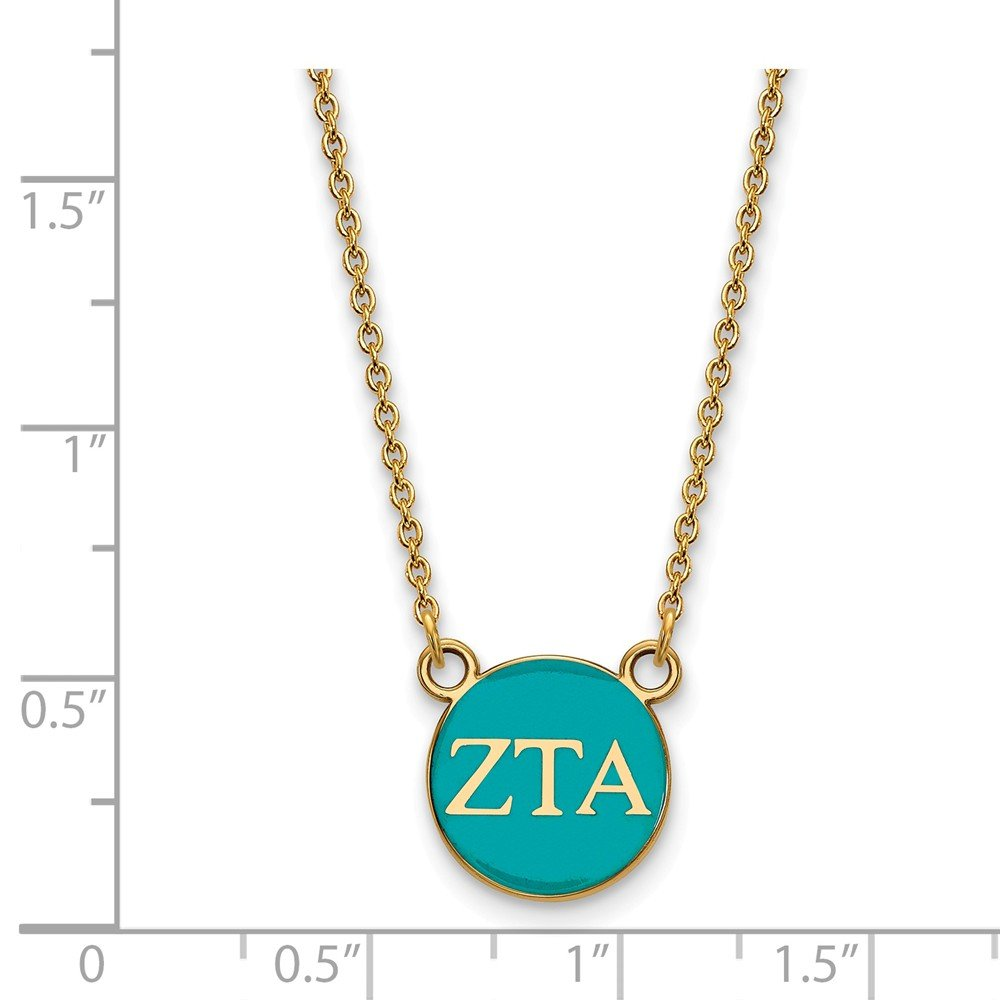 Solid 925 Sterling Silver with Gold-Toned Zeta Tau Alpha Extra Small Enl Pendant with Necklace 12mm