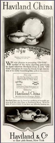Old Gold Pattern in 1923 Haviland Limoges China AD Original Paper Ephemera Authentic Vintage Print Magazine Ad/Article