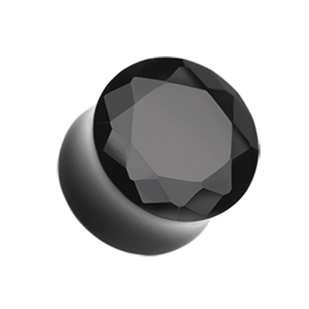 Black Faceted Pyrex Glass Gemstone Double Flared Plugs - Sold as Pairs (1'')