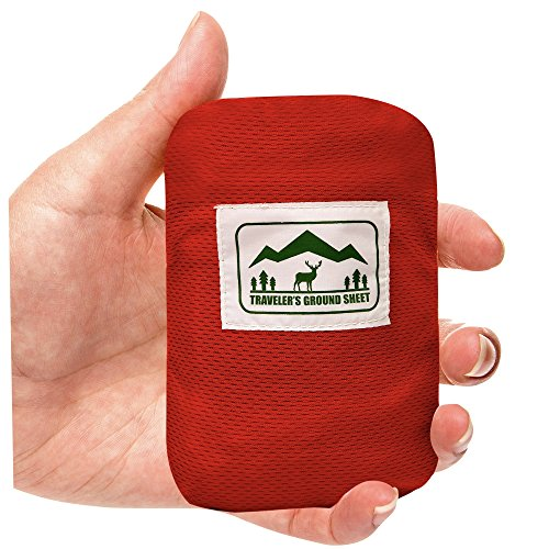 Pocket Blanket (Traveler's Ground Sheet) - Water Resistant, Foldable, Lightweight, 5 oz, 6.25 x 4.16 feet - for Camping, Beach, Hiking or Picnic (1 or 2 person)
