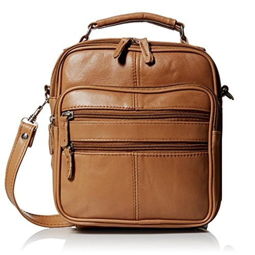 Roma Leathers Light Brown Leather Travel Organizer Crossbody Shoulder (Leather Usa Genuine Handbag)