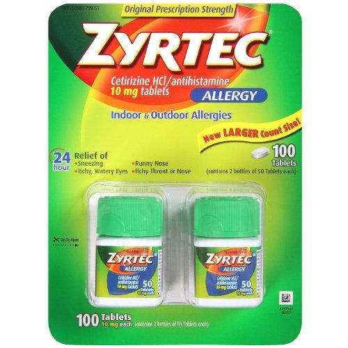 Zyrtec Cetrizine HCl/Antihistamine - 10mg/100 tablets by Zyrtec