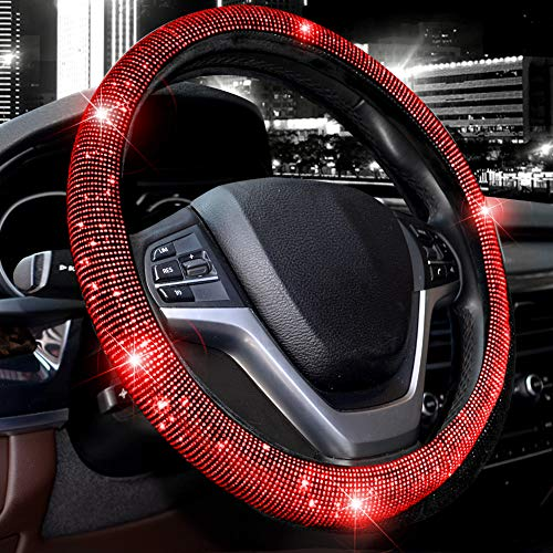 Valleycomfy Steering Wheel Cover for Women Bling Bling Crystal Diamond Sparkling Car SUV Wheel Protector Universal Fit 15 Inch (Black with Red Diamond)