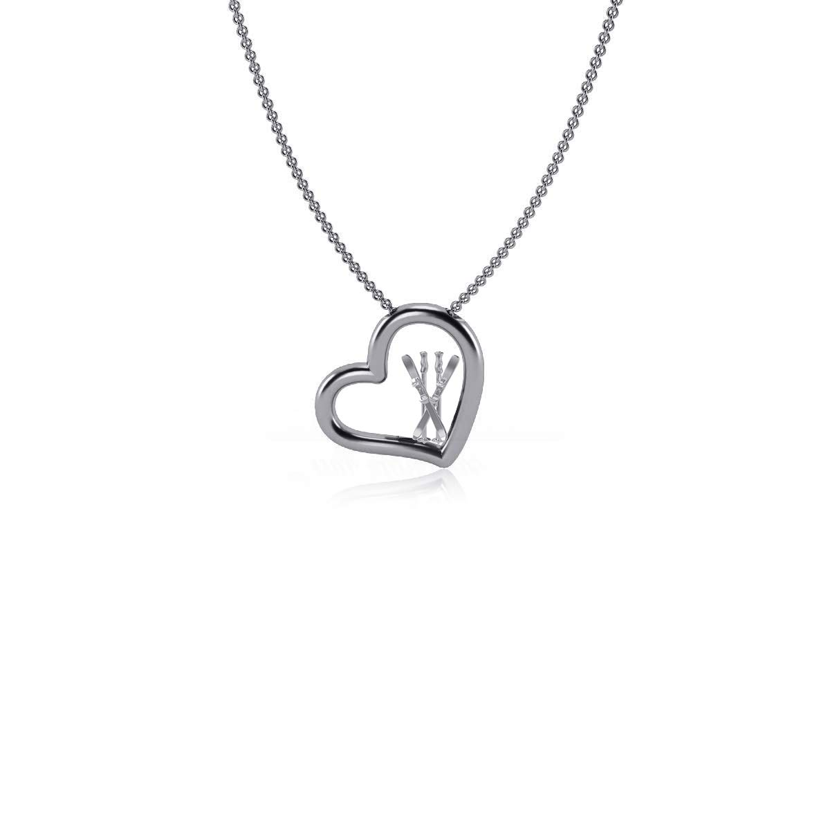 Dayna Designs Ski Heart Necklace Silver Sterling Silver Jewelry Small for Women//Girls
