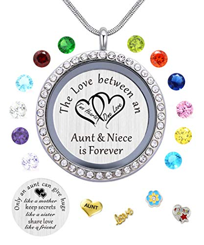 beffy My Aunt Gifts from Niece, Magnetic Closure Living Memory Floating Charms Locket, 30mm Round Crystals Pendant Necklace with -