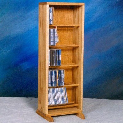 Dowel CD Storage Tower in Honey Oak Finish (Clear)