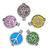 5pcs Mix Style Antique Silver Lockets Essential Oil Diffuser Charms Pendant