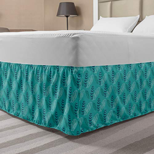Ambesonne Feather Bed Skirt, Continuous Simplistic Abstract Lines of Nature Body Tree Foliage, Elastic Bedskirt Dust Ruffle Wrap Around for Bedding Decor, Queen, Dark Seafoam Slate Blue