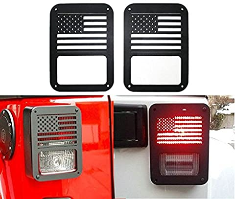 Sunluway 2 X Tail lamp Tail light Cover Trim Guards Protector for Jeep Wrangler Sport X Sahara Unlimited Rubicon 2007-2015 (USA (2013 Jeep Parts)