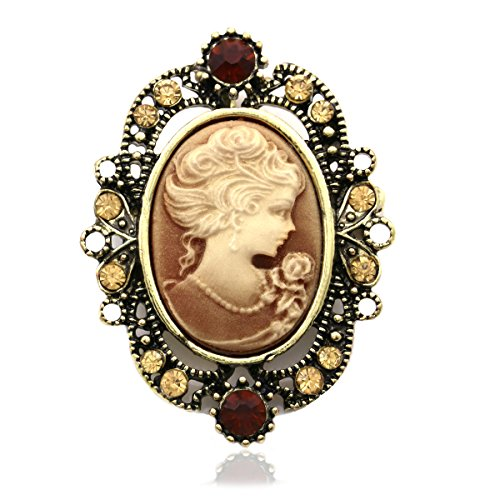 Brown Cameo Brooch Pin Charm Women Fashion Jewelry Necklace Pendant (Cameo Pin Pendant Brooch)