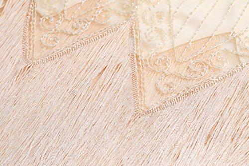 Perlée Bal Paillette Beige Vintage Gatsby Soirée 1920s 1920 Élégante Longue Artideco Flapper Party Art Déco Fête Femme Robe F0wnq6S