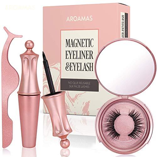 Aroamas Magnetic Eyeliner and Magnetic Eyelash Kit, No Glue Reusable Silk False Lashes, Easier To Use Than Traditional Magnetic Eyelash (The Best Magnetic Eyelashes)